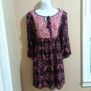 NWOT MIAMI Boho Rayon long sleeve dress Size S